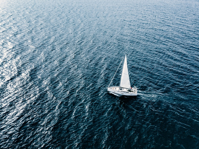 Aerial view of Sailing ship yachts with white sails  in deep blue sea