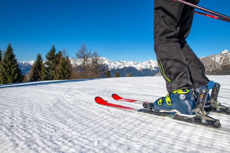 Ski detail on ski resort slope